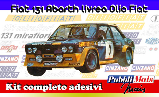grafica graphics sticker decal kit completo adesivi sponsor originali per fiat abarth 131 alitalia di pubblimais torino