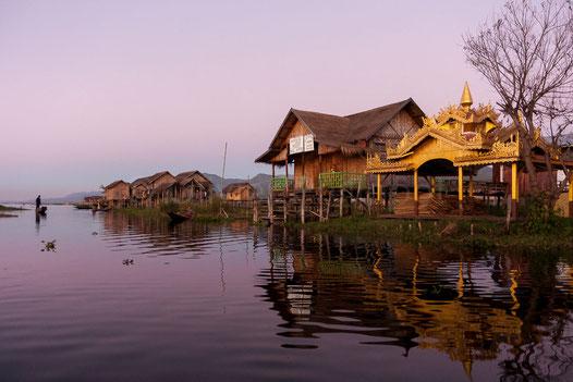 Reflets soleil couchant - Lac Inle - Birmanie © Olivier Philippot