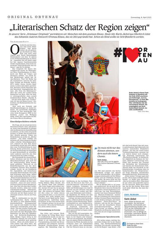 Mittelbadische Presse am 8.April 2021, Karin Jäckel im Gespräch mit Alexander Schütt, Foto Ulrich Marx