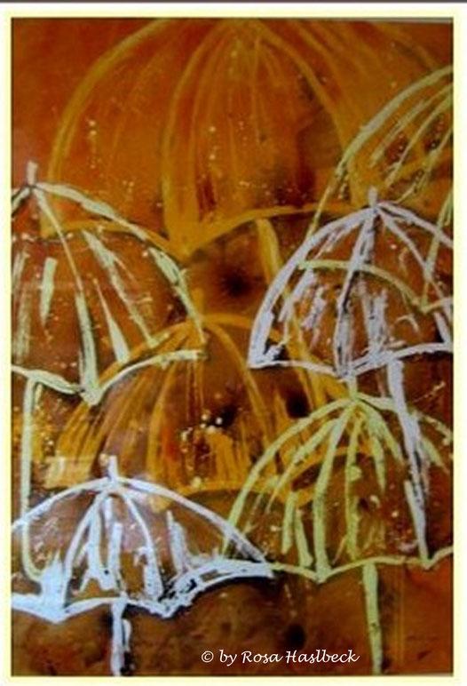 aquarell, stillleben, regenschirm,regen, schirme,  beige, ocker, gelb , bild, handgemalt,  kunst, bild, wanddekoration, geschenkidee, dekoration, wandbild, art, malen, malerei