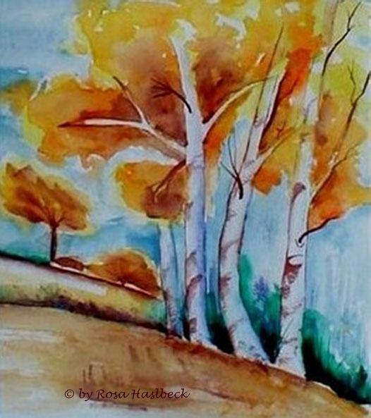 aquarell kaufen , landschaft, landschaftsaquarell,  bäume, blau, grün,  braun, baum, berg, birken, bild, kunst, bilder, malerei, malen, deko, dekoration, wandbilder, wand, geschenkidee, geschenke,malen, malerei, handgemalt,
