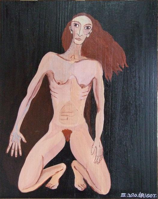 peinture sur bois. la femme sauvage.