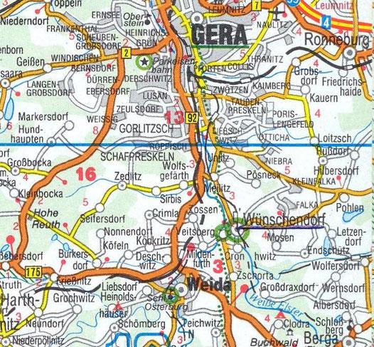 Bild:Karte Wünschendorf bei Gera