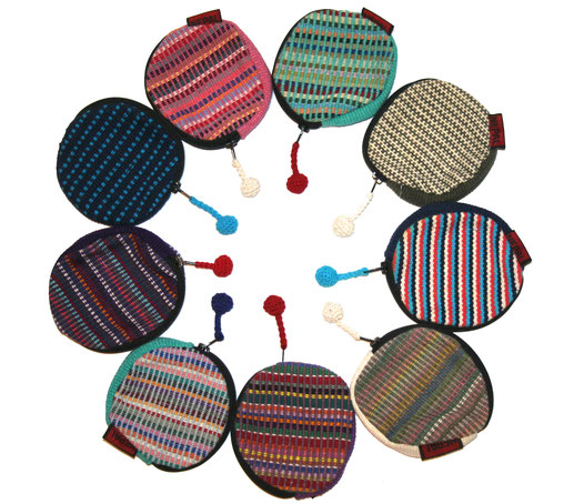 Monederos circulares de colores variados en tela de algodón tejida artesanalmente