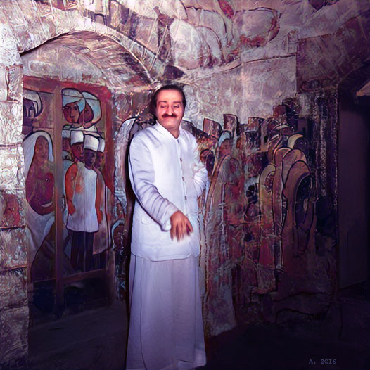 1950s : Meher Baba in his Samdhi-Tomb. Image colourized & enhanced by Anthony Zois.