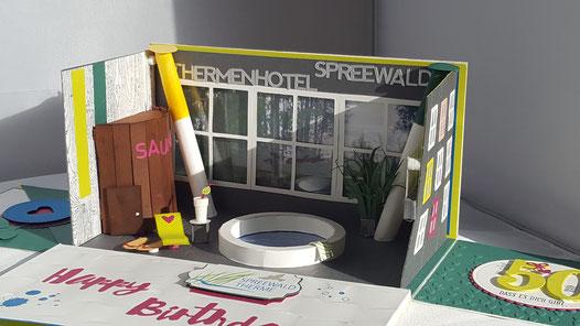 #Spreewald #Therme #Spreewaldhotel #Explosisonsbox #Explodingbox #Stempelliese.com #stampinup #Geldgeschenk #Geburtstag #Wellnessgutschein