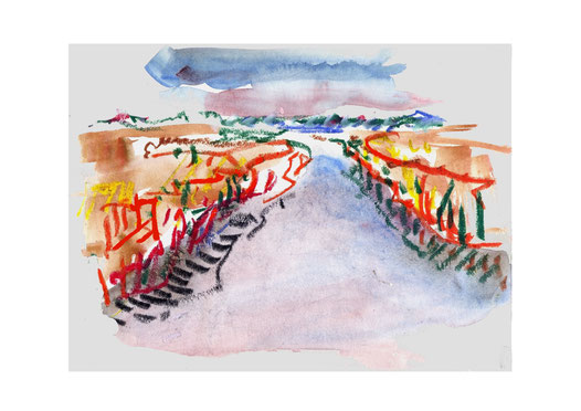 Dünen, Sommer, Wasser, Meer, Ostsee, Ruhe, Erholung, Vögel, Fische, Hitze, Schilf, Wiese, Licht, Pril, Himmel, Wolken Horizont, Aquarell, Zeichnung, Malerei, Ölkreide, expressiv, Abstraktion, Dynamik, Natur, Landschaft