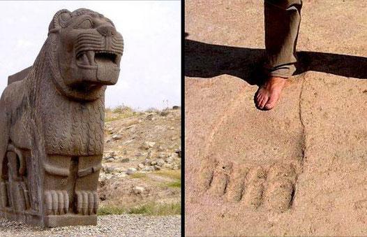Statue de lion et trace de pied du temple hittite d'Ain Dara
