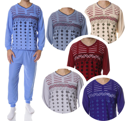 Heren pyjama's badstof in de kleuren blauw, grijsblauw, beige, rood, marine en grijs