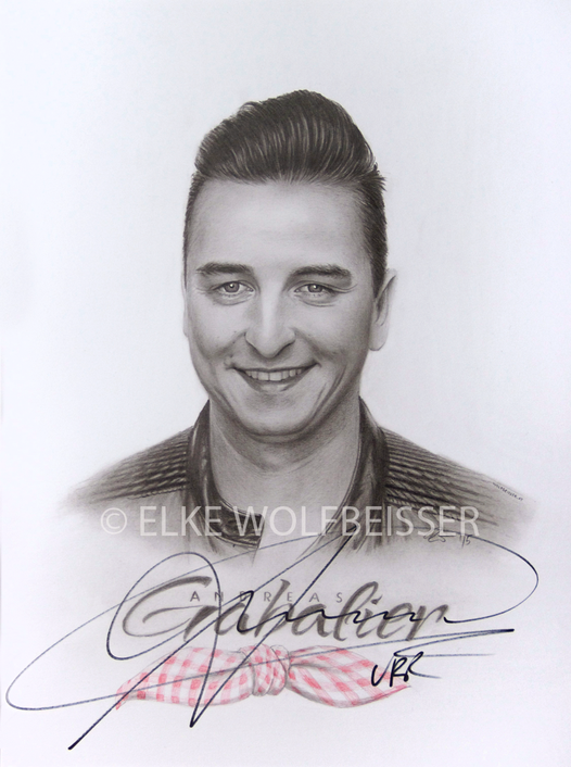 Porträt Andreas Gabalier / Bleistift, Bunstift auf A3 Zeichenkarton