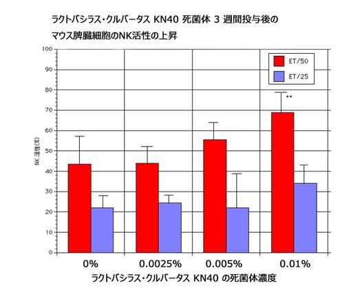図-2: KN40死菌体の、マウス脾臓細胞NK活性上昇効果