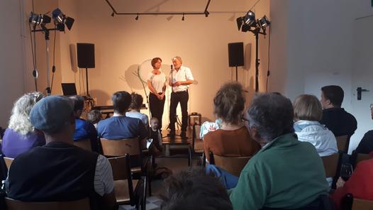 Marianne Völkening, Wolf-Dieter Völkening am 21.9.19 im KIME Bühnenraum