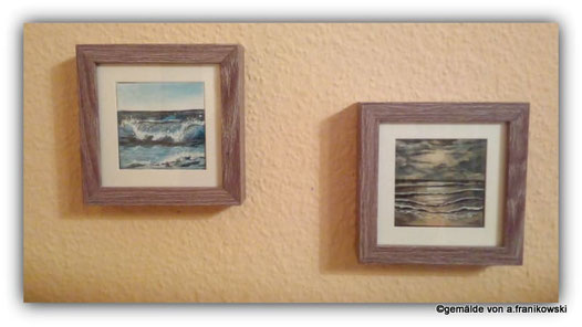 gemalte Landschaftsbilder in kleinen Rahmen eingerahmt. Mini Landschftsen Meeresbilder.