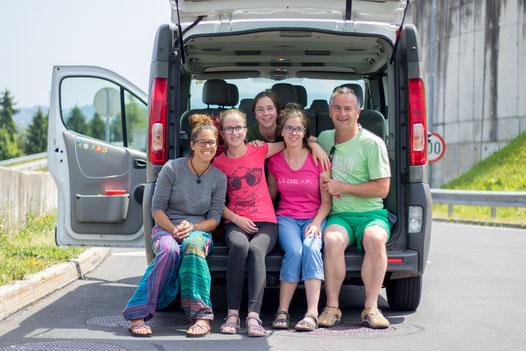 Happy family drove us in Slovenia