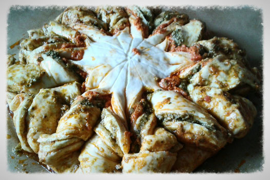 Pestobrotblume vor dem Backen