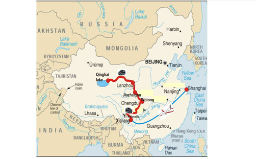 da Xichang ( sud Sichuan ) al lago Qinghai via terra ( Shanghai-Xichang via aerea )