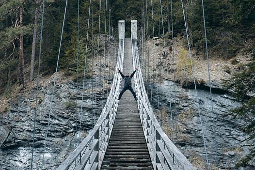 Roadtrip Switzerland, Europe, Alps, suspension bridge