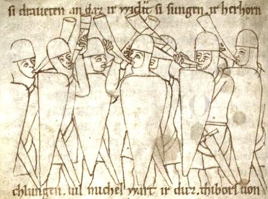 Hornbläser zur Zeit der Staufer.  Rolandslied der Heidelberger Bibliotheka Palatina. Ende 12. Jahrhundert.