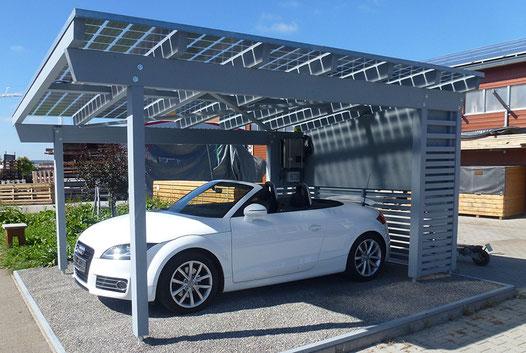 Solarcarport mit transparenten Axsun Solarmodulen aus deutscher Fertigung