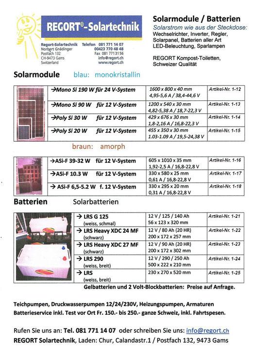 Solarmodule und Batterien von Regort Solartechnik