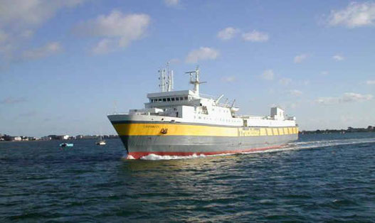 Coutances, Purbeck's sistership pictured arriving in Poole in her former Truckline livery.