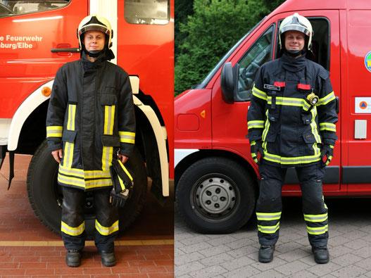 Vergleich Schutzkleidung ab 1999 (l) und Schutzkleidung ab 2016 (r)