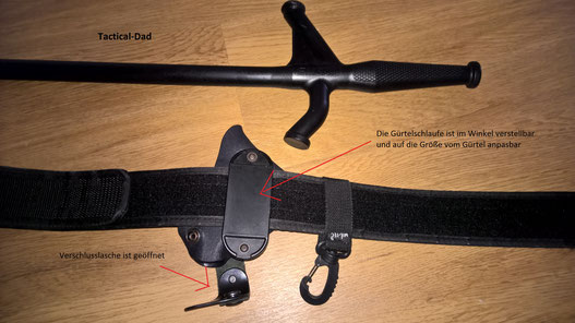 Das Holster vom EMS-Leicht (RRB Baton) ist richtig toll und durchdacht! Die verdeckt angebrachte Verschlussschlaufe verhindert unberechtigten Zugriff am EMS Leicht.