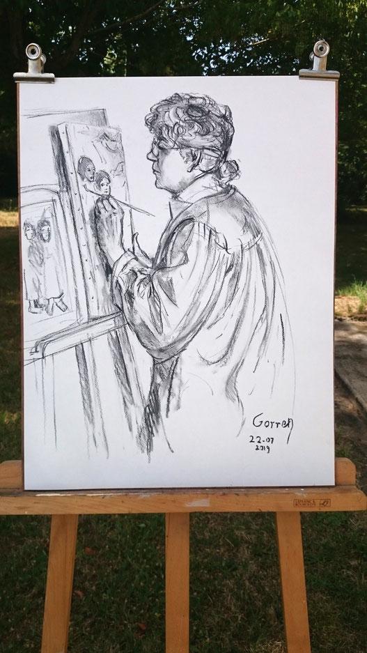 Hélène copie Gauguin - Fusain sur papier - 65x50cm