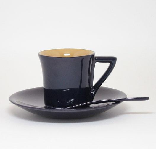 輪島塗 コーヒーカップ なす紺