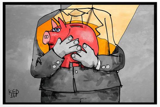 Mensch hält ein Sparschwein, um sein Einkommen zuschützen, Info zum P-Konto