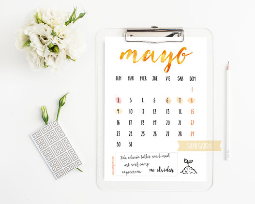 Freebies de calendario: MAYO by Sami Garra