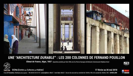 """Affiche de l'exposition 'Une architecture durable, Fernand Pouillon"""" au CCHa - Centre des Cultures de l'Habiter"""