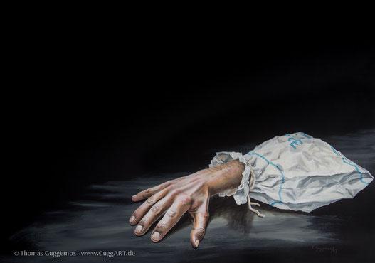Ein Acrylbild, Hand aus der Tüte, realistische Malerei