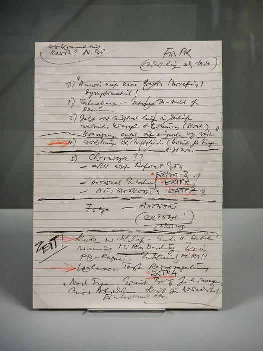 Günter Schabowskis  Notizzetttel