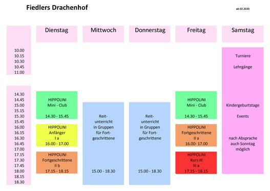 Wochenübersicht Unterrichtsangebot an Reitstunden in der Reitschule Fiedlers Drachenhof in Kenzingen