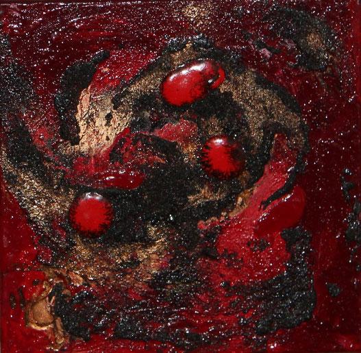 ohne Titel, 30 x 30 cm, Lavasand, Pigmente, Acrylfarbe, Tusche, verkauft
