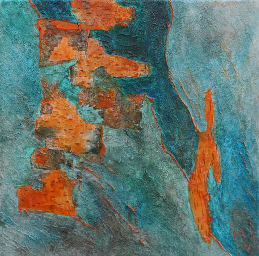 ohne Titel, 40 x 40 cm, Spachtelmasse, Acrylfarbe, Rinde