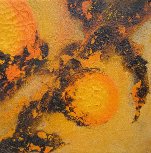 Aus der Reihe: Tanz auf dem Vulkan, 30 x 30 cm, Spachtelmasse, Acrylfarbe, Lackspray, Pigmente, verkauft