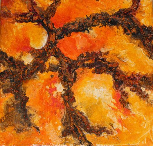 Aus der Reihe: Tanz auf dem Vulkan, 30 x 30 cm, Acrylfarbe, Spachtelmasse, Tusche, Pigmente, Verkauft