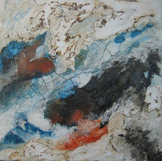 ohne Titel, 40 x 40 cm, Seidenpapier, Spachtelmasse, Pigmente, Tusche