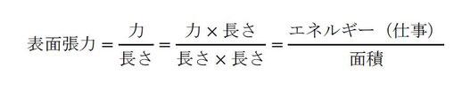 表面張力と表面自由エネルギーの換算式