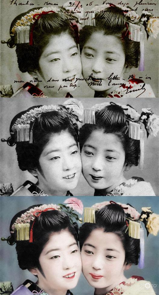 修復・色再現 作業前→作業後比較  1906年の絵葉書より「二人の舞妓」