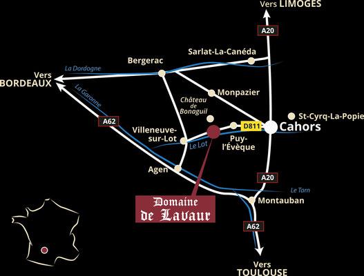 plan d'accès Domaine de Lavaur AOC Cahors malbec vigneron récoltant - gîte ) louer dans les vignes