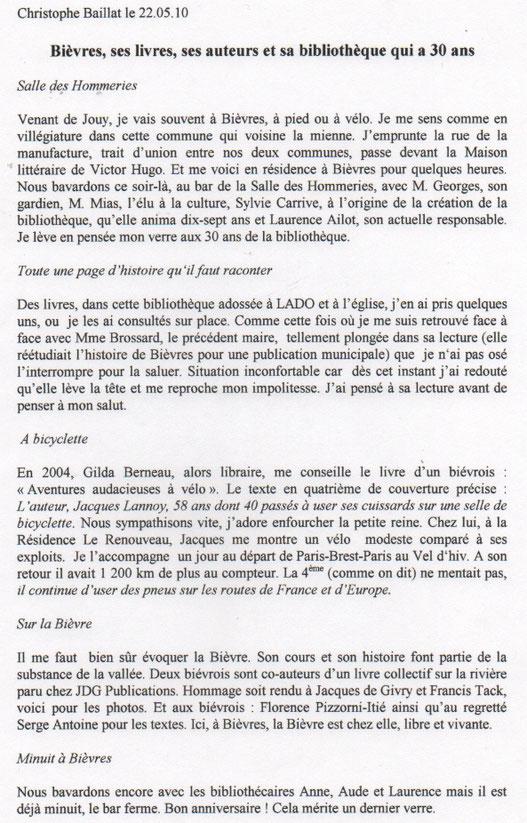 Texte extrait du livret mis à disposition du public pour le 30e anniversaire en 2010