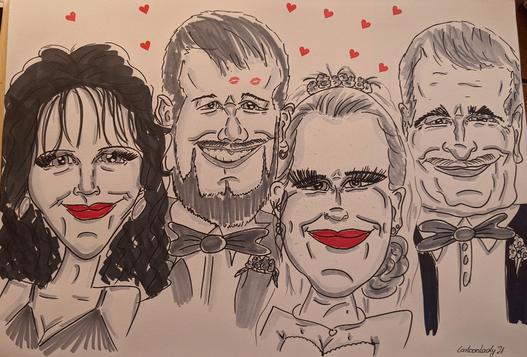 live-Karikatur von einer Hochzeitsfeier