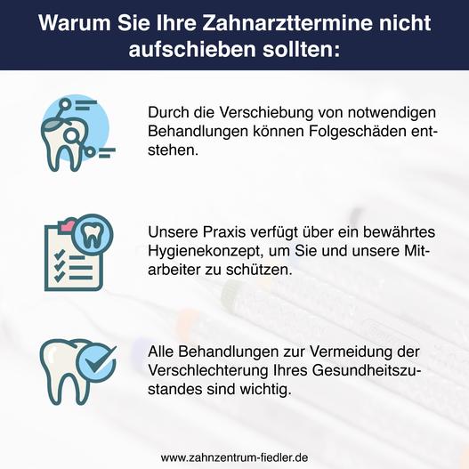 Warum Sie Ihren Termin im Zahnzentrum Fiedler in Kenzingen trotz Lockdown nicht aufschieben sollten