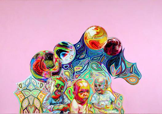 Psychedelische Babies. Farbstift-Malerei von Gabi Klinger. Coloured Pencil. Psychedelic Babies.