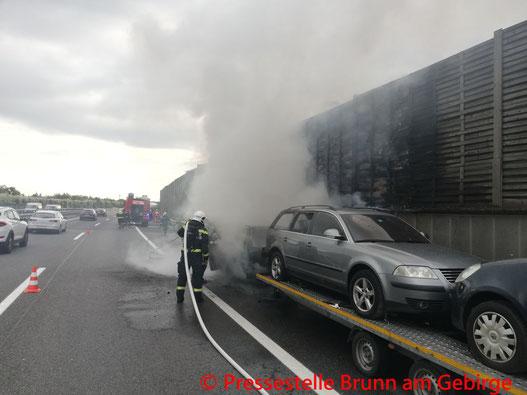 Feuerwehr; Blaulicht; FF Brunn am Gebirge; PKW; Brand; Keller; Auspumparbeiten;