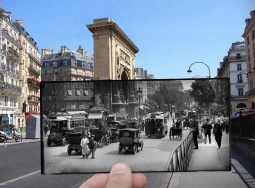 old photo paris with a modern photo