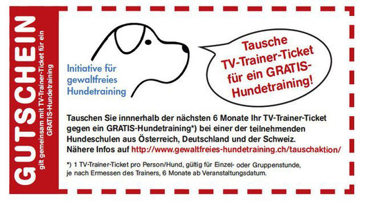 TV-Trainer-Ticket gegen gratis Hundetraining